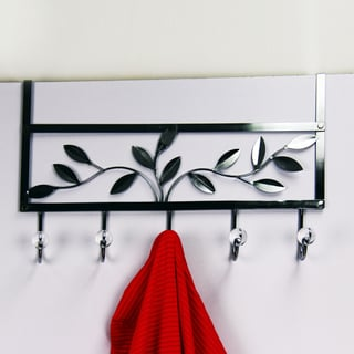 Chrome Floral Leaf Over-the-door Hook
