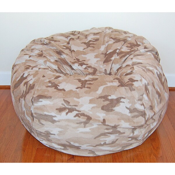 Tan Camouflage Washable Fleece 36-inch Bean Bag Chair
