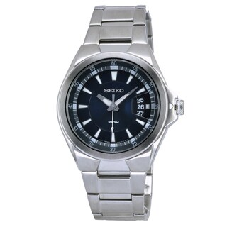 Seiko Men's Classic Stainless Steel Blue Dial Watch