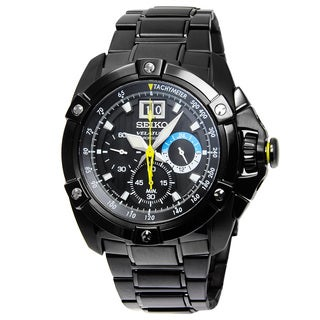 Seiko Men's Velatura SPC073P1 Black Dial Tachymeter Chronograph Watch