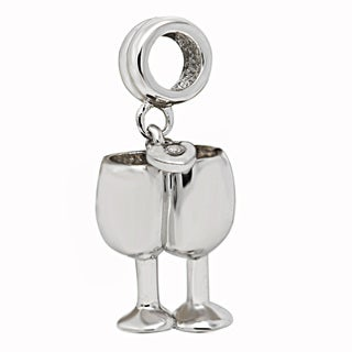 De Buman Sterling Silver Cubic Zirconia Goblet Dangle Charm Bead