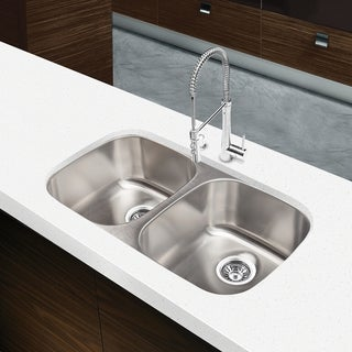 Designer Collection 32.5-inch 18-gauge Equal Double Bowl Kitchen Sink ...