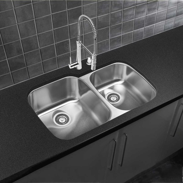 Designer collection 18 gauge 60 40 double bowl - 18 inch kitchen sink ...