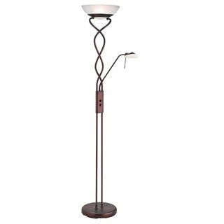Twist Torchiere 3-light Oil Brushed Bronze Floor Lamp with Reading Light
