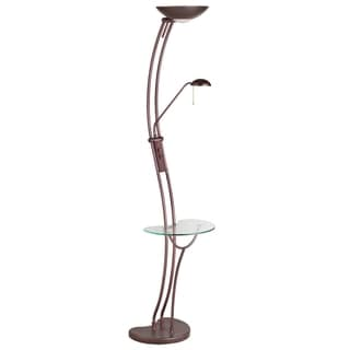 Curved Torchier 3-light Oil Brushed Bronze Floor Lamp with Reading Light and Glass Table