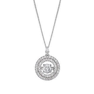 Auriya 14k White Gold 1/2ct TDW 'Dancing Stone' Double Halo Diamond Circle Necklace (G-H, I1-I2)