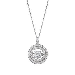 Auriya 14k Gold 1/2ct TDW 'Dancing Stone' Double Halo Diamond Circle Necklace (G-H, I1-I2)