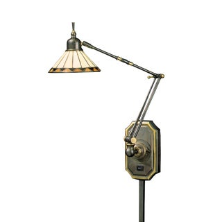 Tiffany-style Pueblo Single-light Medici Bronze Swing Arm Wall Lamp