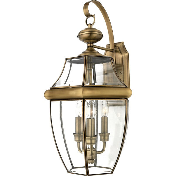 Newbury 3-light Antique Brass Glass Shade Outdoor Wall Lantern