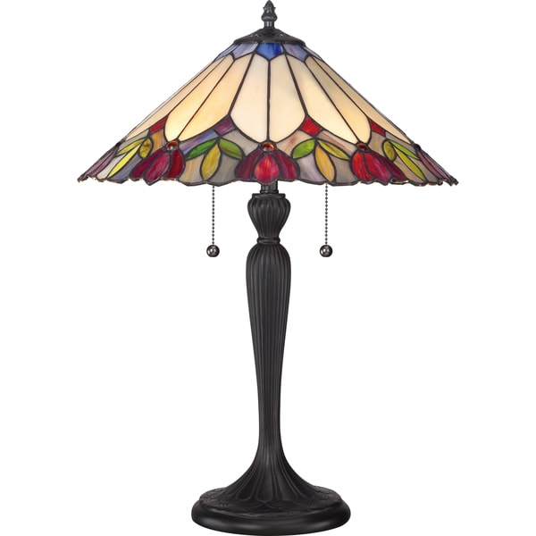 Fowler Tiffany Glass 2-light Table Lamp