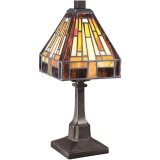 Stephen Tiffany Glass Vintage Bronze Finish Desk Lamp