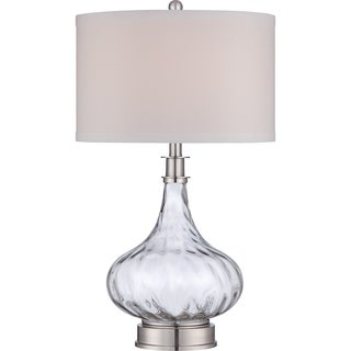 Quoizel 'Ripley' Brushed Nickel and Flowing Glass Table Lamp