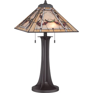 Monteclaire Tiffany Glass Western Bronze Finish 2-light Table Lamp