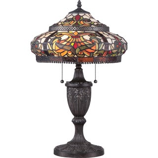 Floria Tiffany Glass Imperial Bronze Finish 2-light Table Lamp