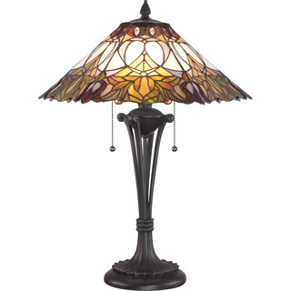 Bancroft Tiffany Art Glass Western Bronze Finish Table Lamp