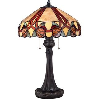 Trailing Vine Tiffany Art Glass Imperial Bronze Finish 2-light Table Lamp