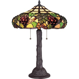 Grapevine Tiffany Art Glass Western Bronze Finish 2-light Table Lamp