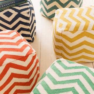 Wave Large Chevron 18-inch Cube Pouf