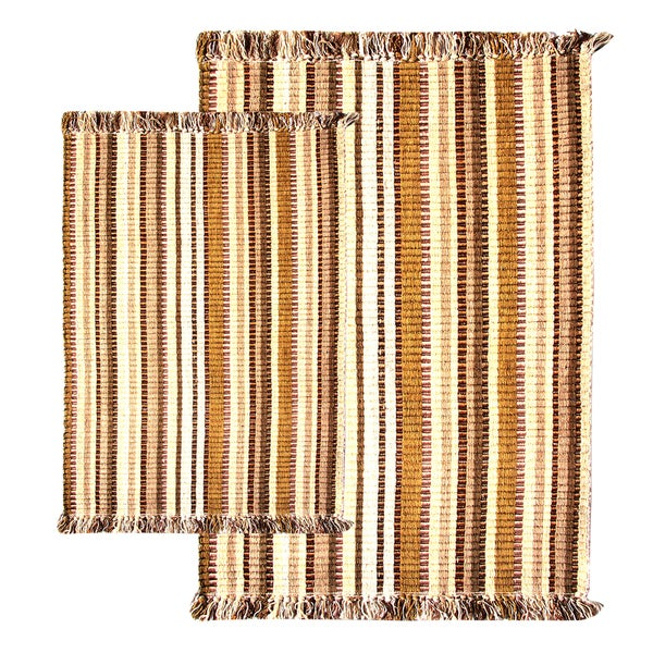 Caramel Multitone Silk Ribbed Two-piece Rug Set