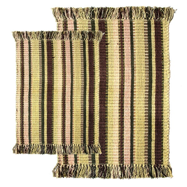 Bayleaf Multitone Silk Ribbed Two-piece Rug Set