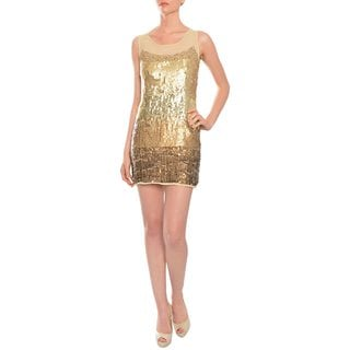 A.B.S. by Allen Schwartz Women's Gold Sequined Fitted Cocktail Dress