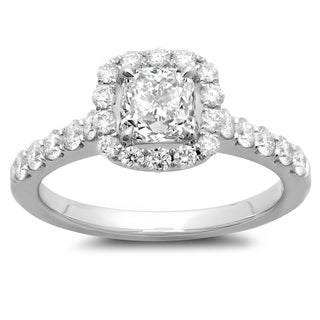 14k White Gold 1 5/8ct TDW Cushion-cut Diamond Engagement Ring (G-H, SI2-I1)