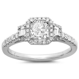 14k White Gold 1 1/2ct TDW Cushion-cut Vintage White Diamond Engagement Ring (G-H, SI2-I1)