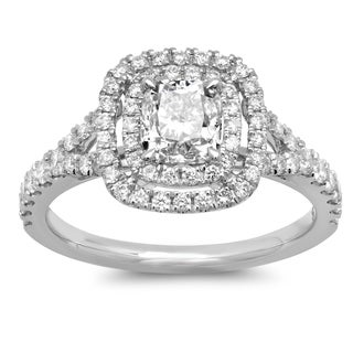 14k White Gold 1 3/4ct TDW Cushion-cut Double Halo White Diamond Engagement Ring (G-H, SI2-I1)