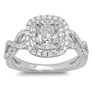 14k White Gold 1 1/2ct TDW Cushion-cut Braided Diamond Halo Engagement Ring (G-H, SI2-I1)