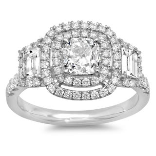 14k White Gold 2 1/10ct TDW Cushion-cut Diamond Vintage Style Engagement Ring (G-H, SI2-I1)