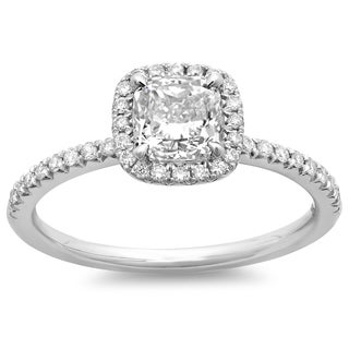 14k White Gold 1 1/3ct TDW Cushion-cut Diamond Halo Engagement Ring (G-H, SI2-I1)
