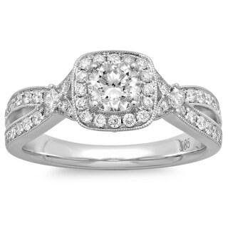 14k White Gold 1ct TDW Round Diamond Halo Engagement Ring (G-H, SI2-I1)