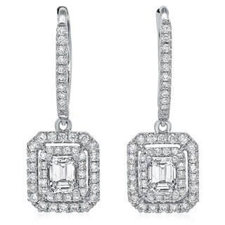 14k White Gold 1 1/8ct TDW Emerald-cut Diamond Double Halo Earrings (G-H, SI2-I1)