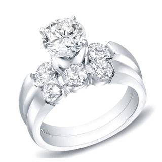 Auriya 14k Gold 2 1/2ct TDW Certified Round Diamond Bridal Ring Set (H-I, SI1-SI2)