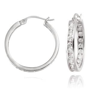 Zirconia Ice Sterling Silver 20mm Channel Set Hoop Swarovski Zirconia Earrings