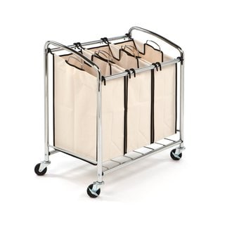 Seville Classics Chrome 3-bag Slanted Handle Laundry Sorter
