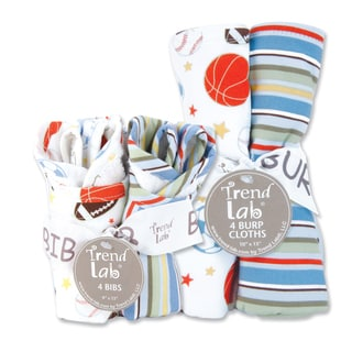Trend Lab Little MVP 8-piece Bib & Burp Cloth Set