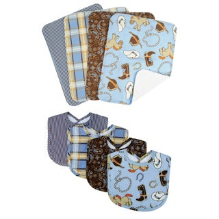 Trend Lab Cowboy 8-piece Bib & Burp Cloth Set