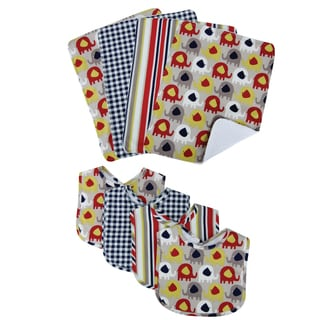 Trend Lab Elephant Parade 8-piece Bib & Burp Cloth Set