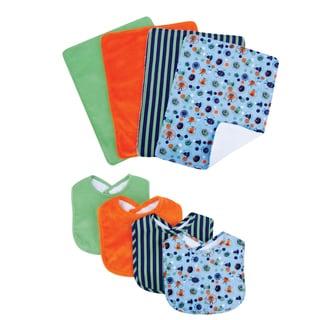 Trend Lab Snuggle Monster 8-piece Bib and Burp Cloth Set