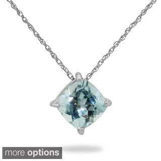 Gioelli Jenne Sterling Silver Cushion-cut Gemstone Basket-set Necklace