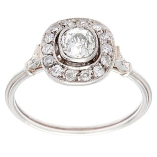 Platinum 3/5ct TDW Antique Estate Engagement Ring (H-I, SI3)