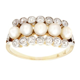 18k Yellow Gold 1/2ct TDW Natural Pearl and Diamond Antique Estate Ring (I-J, SI1-SI2) (3-4 mm)