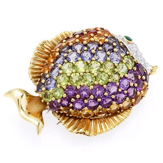 18k Yellow Gold 3/4ct TDW Multi-color Gemstone Blowfish Brooch (H-I, SI1-SI2)