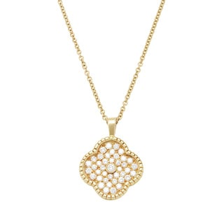 18k Yellow Gold 1 1/2ct TDW Four-leaf Clover Estate Necklace (H-I, VS1-VS2)