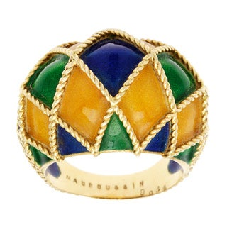 Pre-owned Mauboussin 18k Yellow Gold Enameled Dome Ring
