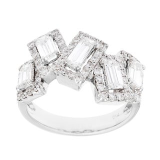 18k White Gold 1 3/4ct TDW Freeform Cluster Estate Ring (H-I, SI1-SI2)