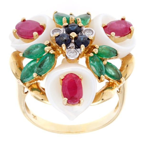 Pre-owned 18k Yellow Gold Multicolor Gems Pearl Floral Cocktail Ring (9-10 mm) 12815876