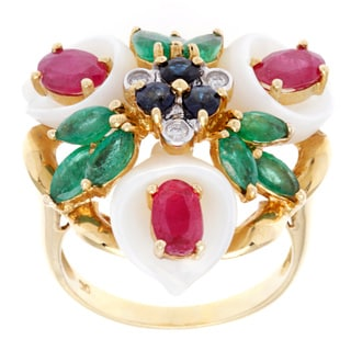 18k Yellow Gold Multicolor Gems Pearl Floral Cocktail Ring (9-10 mm)