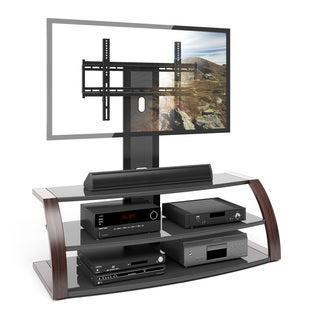 CorLiving Malibu TV Stand with Mount and Metal Uprights in Wood Print Finish